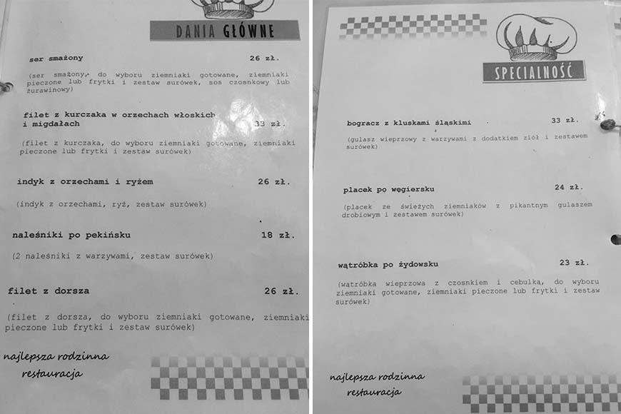 Menu Restauracji u Bożeny, w której obsługiwała nas Pani Dorota, zdjęcie Zbigniew Pasieka blog SunSeasons24