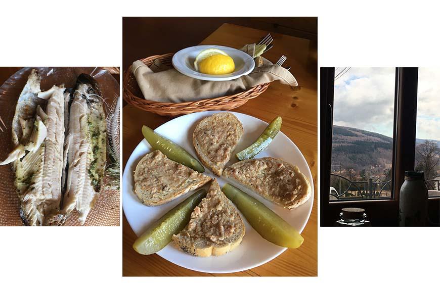 Przystawka o wdzięcznej nazwie Czekadełko, pstrąg z grilla i widok z okna zdjęcia Zbigniew Pasieka blog SunSeasons24