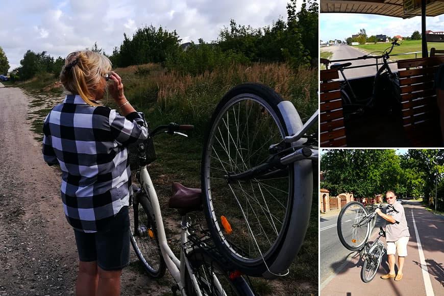 Holowanie roweru bez powietrza w kole powrót ciuchcią zdjęcia: Zbigniew Pasieka, Danuta Koprowska Pasieka blog SunSeasons24
