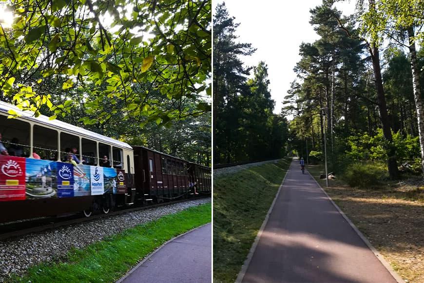 Kolejka wąskotorowa widok ze ścieżki rowerowej wzdłuż nasypu zdjęcia Zbigniew Pasieka blog SunSeasons24