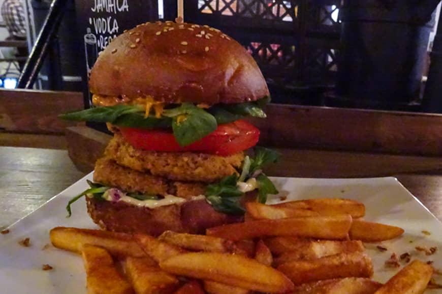 Duży burger z frytkami. Zdjęcie Barbara Jakimowicz-Klein. Blog SunSeasons24